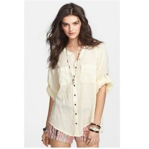 Free People Put Your Back Into It Lace Back Shirt